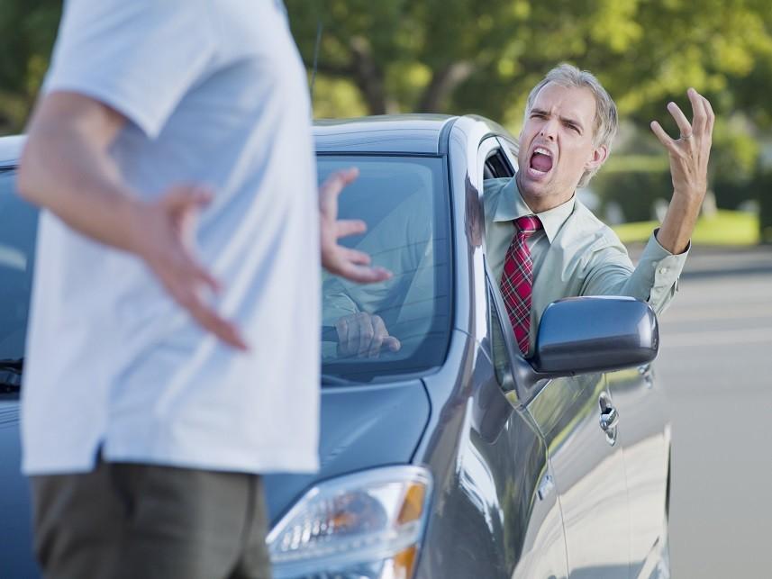 Angry driver shouting
