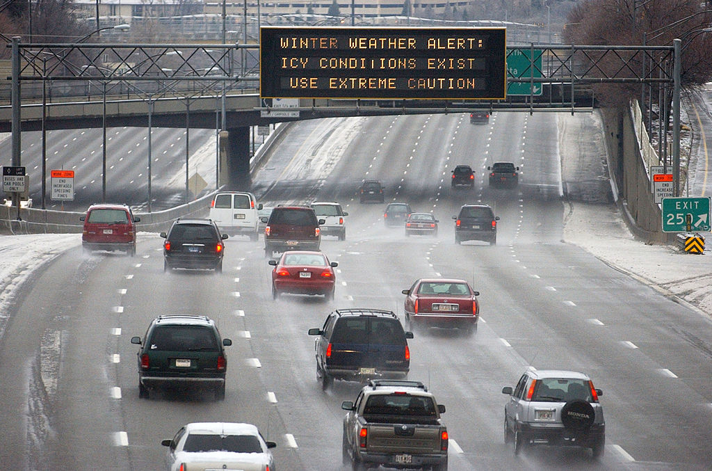 Drivers in Atlanta deal with a freak ice storm