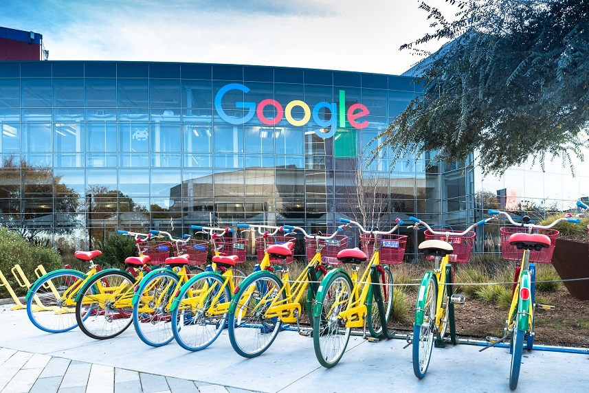 Google headquarters with bikes on foreground