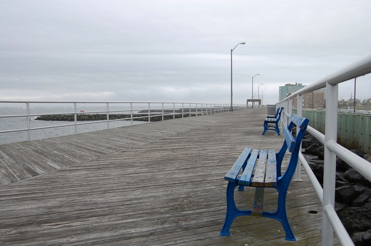 Empty boardwalk on a rainy day in Atlantic City