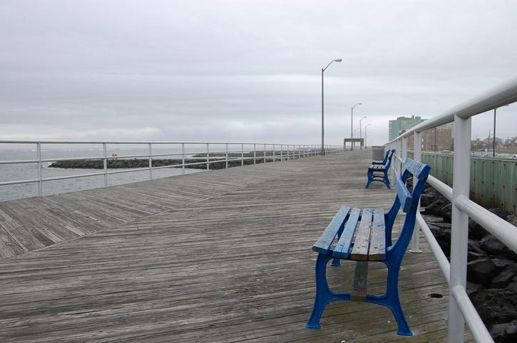 Empty boardwalk on a rainy day in Atlantic City