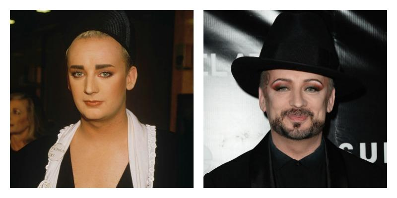 On the left there is a younger Boy George with some eye shadow and tall hat. On the right Boy George has a goatee, eye shadow, and a peace sign tattoo on the side of his head.