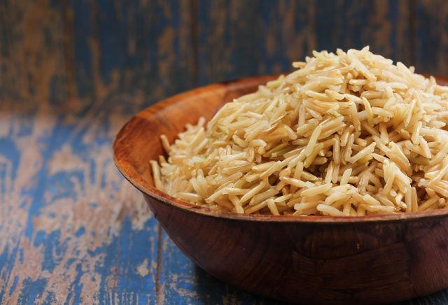 Brown Basmati Rice in a wooden bowl.