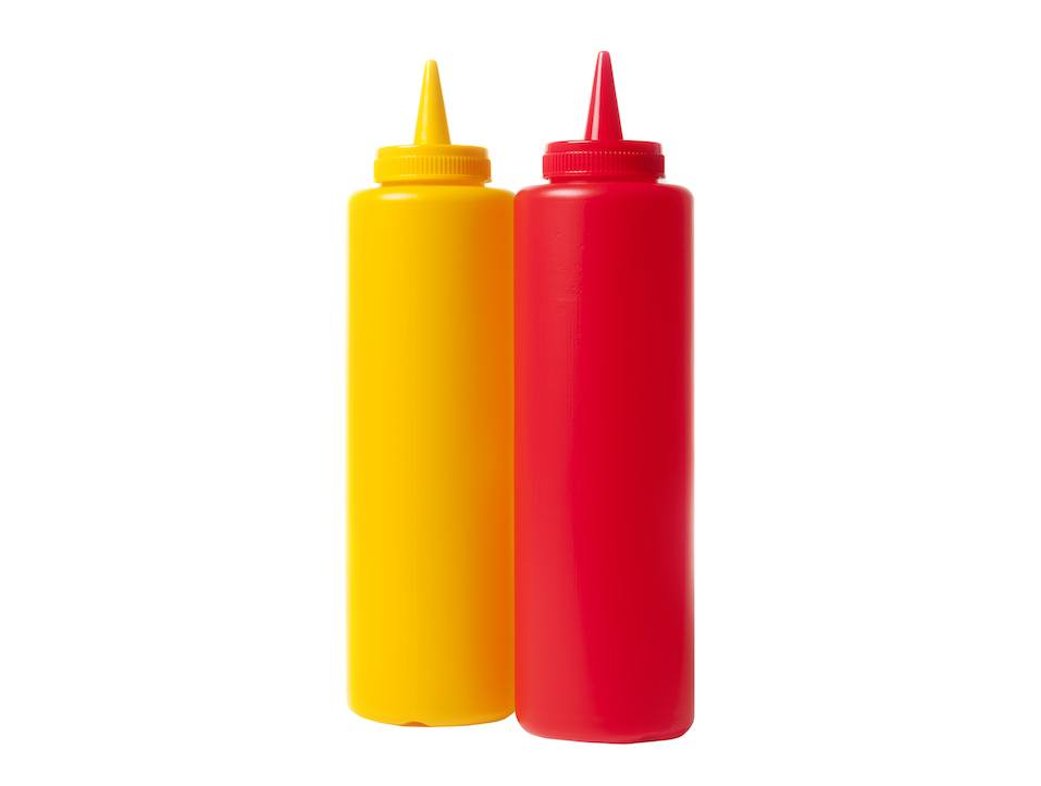 Catsup and Mustard condiment bottles