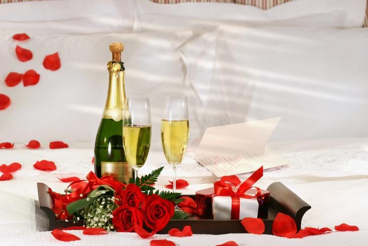 Champagne in bed to celebrate Valentine's Day
