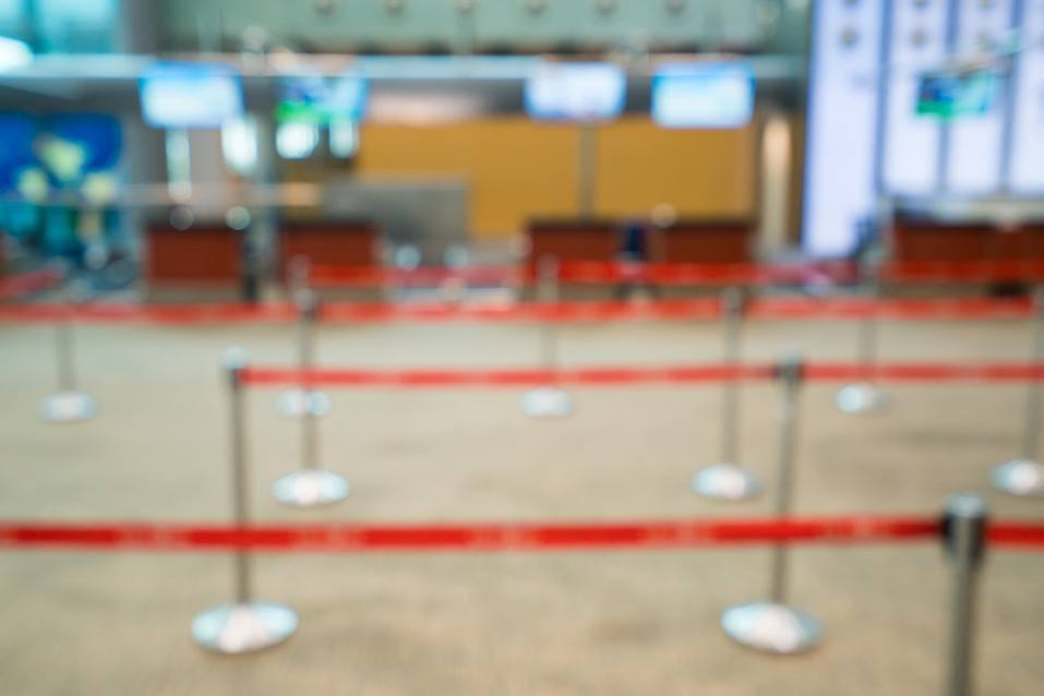 Empty check-in counter.