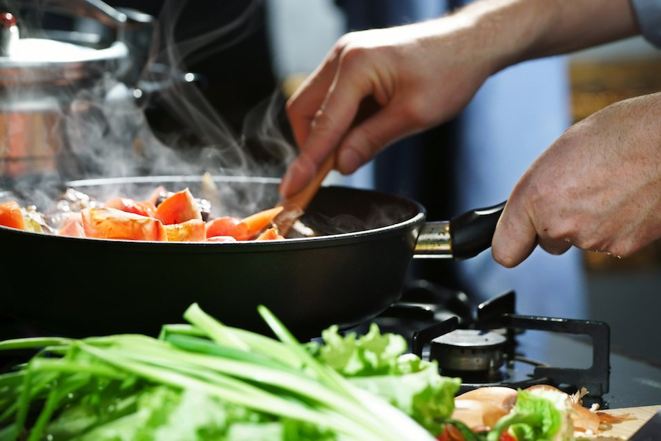 Chef prepares hotpot in the stew pan