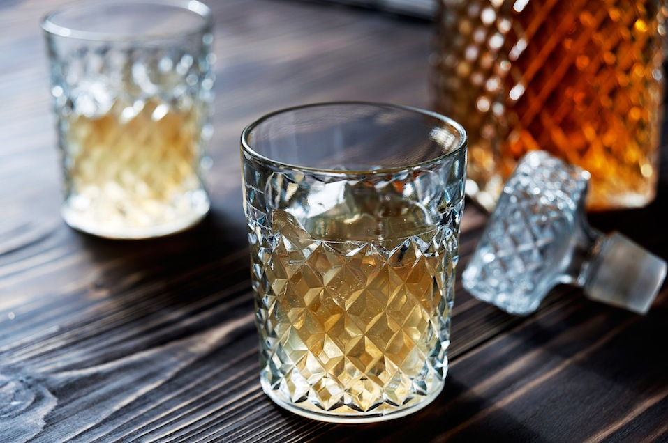 Crystal Decanter. Crystal glasses