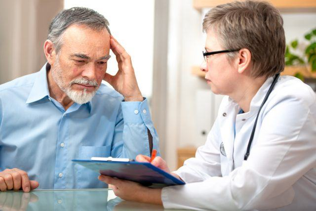 Doctor and patient talks about results.