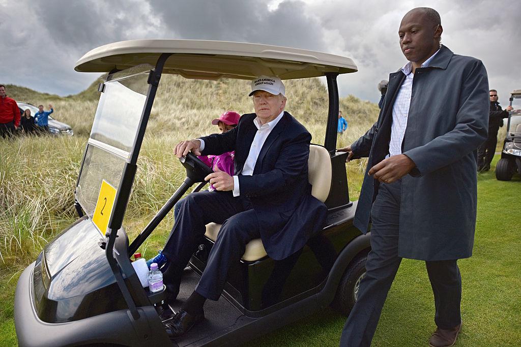 Donald Trump visits Trump International Golf Links