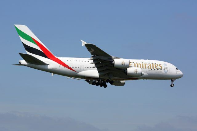 Emirates Airbus A380 airplane London Heathrow airport