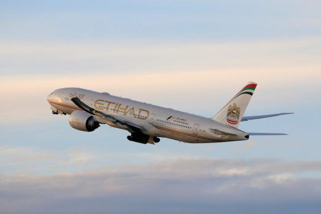 Etihad Airways Boeing 777-200LR taking off at LAX Airport