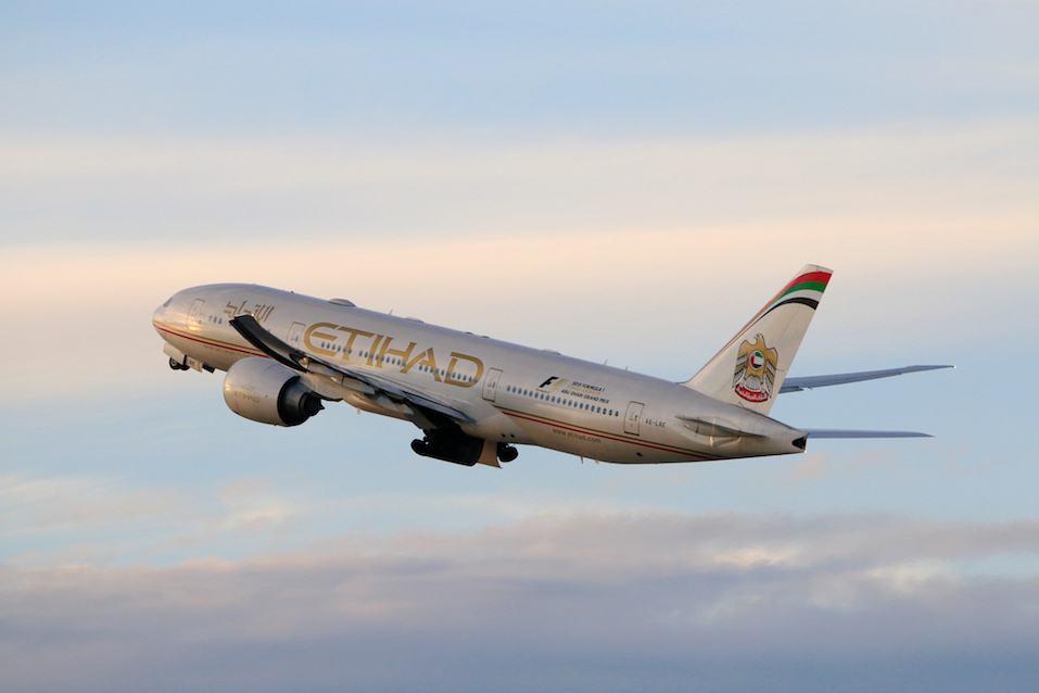 Etihad Airways Boeing 777-200LR taking off at LAX Airport
