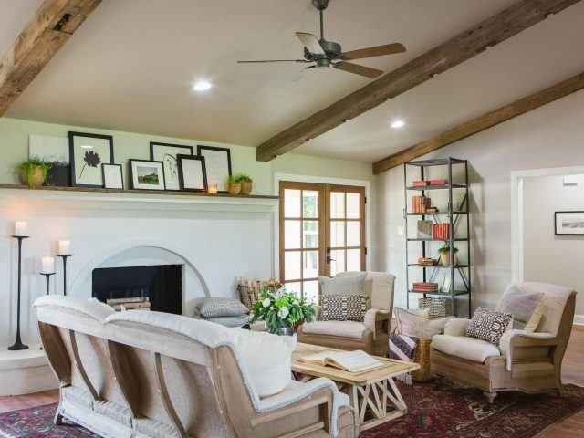 Exposed beams in a home on HGTV's 'Fixer Upper'