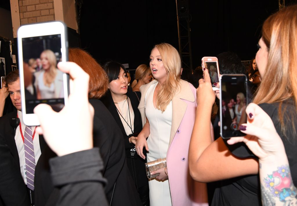 Tiffany Trump backstage after the Taoray Wang show