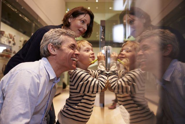 Family Looking At Artifacts In Glass Case On Trip