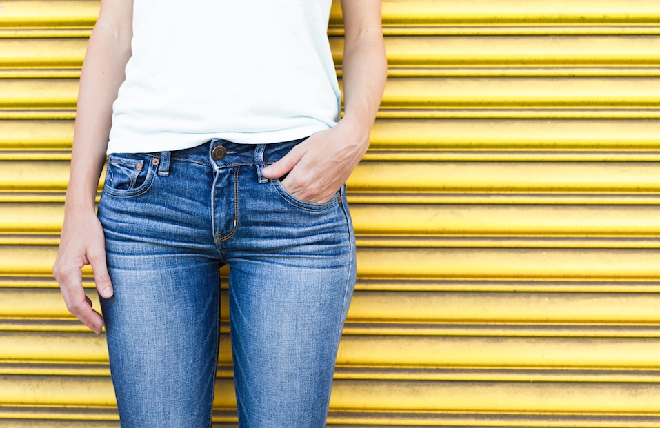 Female wearing jeans