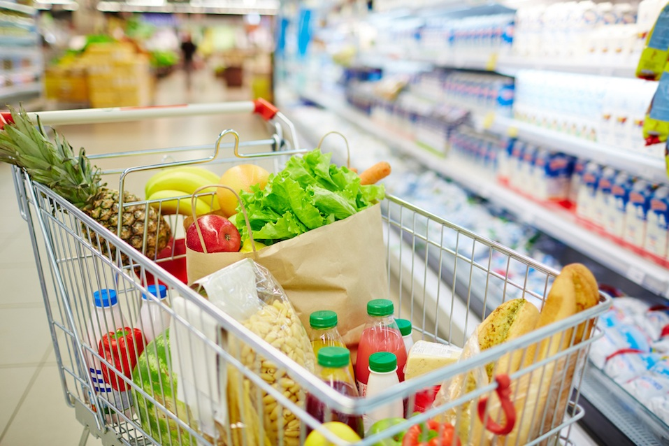 fresh food products in cart