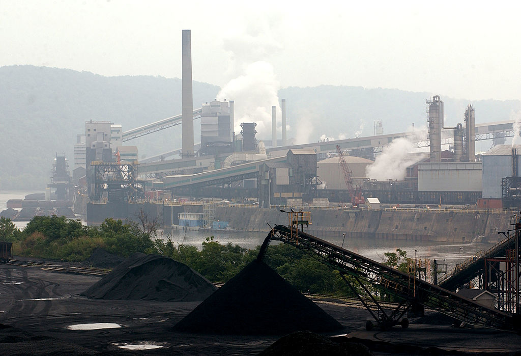 Smoke billows from a coal powered steel plant in western Pennsylvania