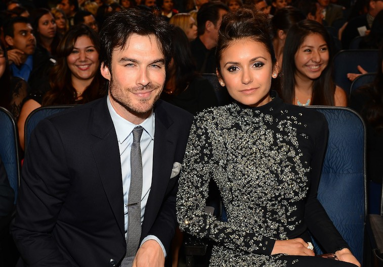 Actor Ian Somerhalder (L) and actress Nina Dobrev attend The 40th Annual People's Choice Awards