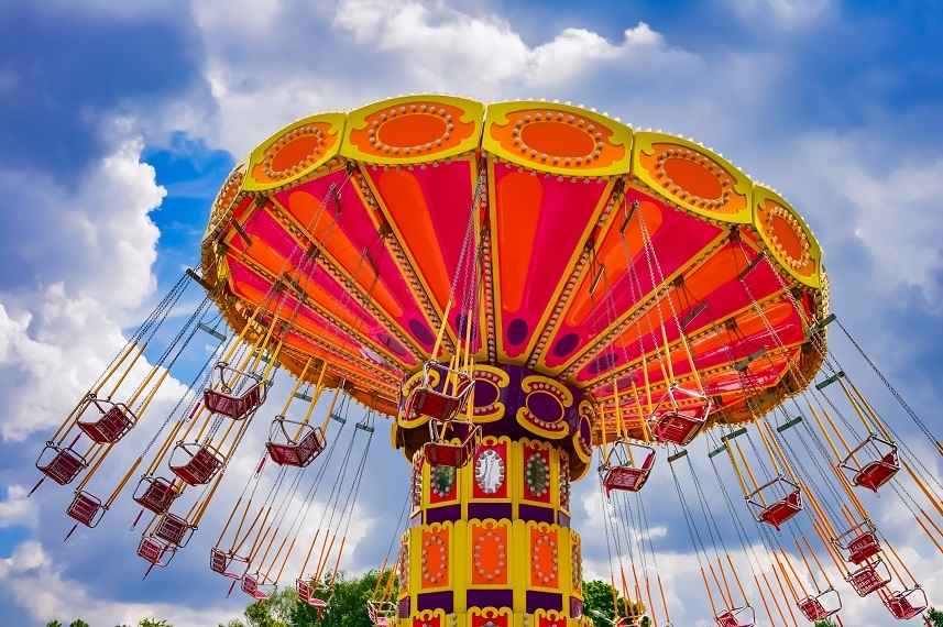 swing ride at the amusement park