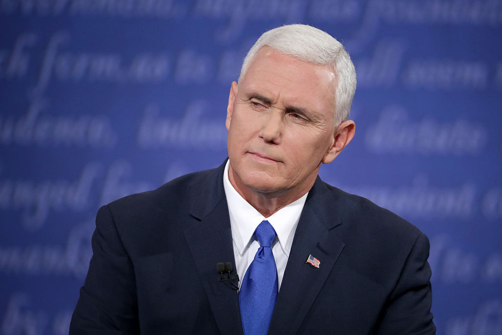 Mike Pence speaks at the vice presidential debate.