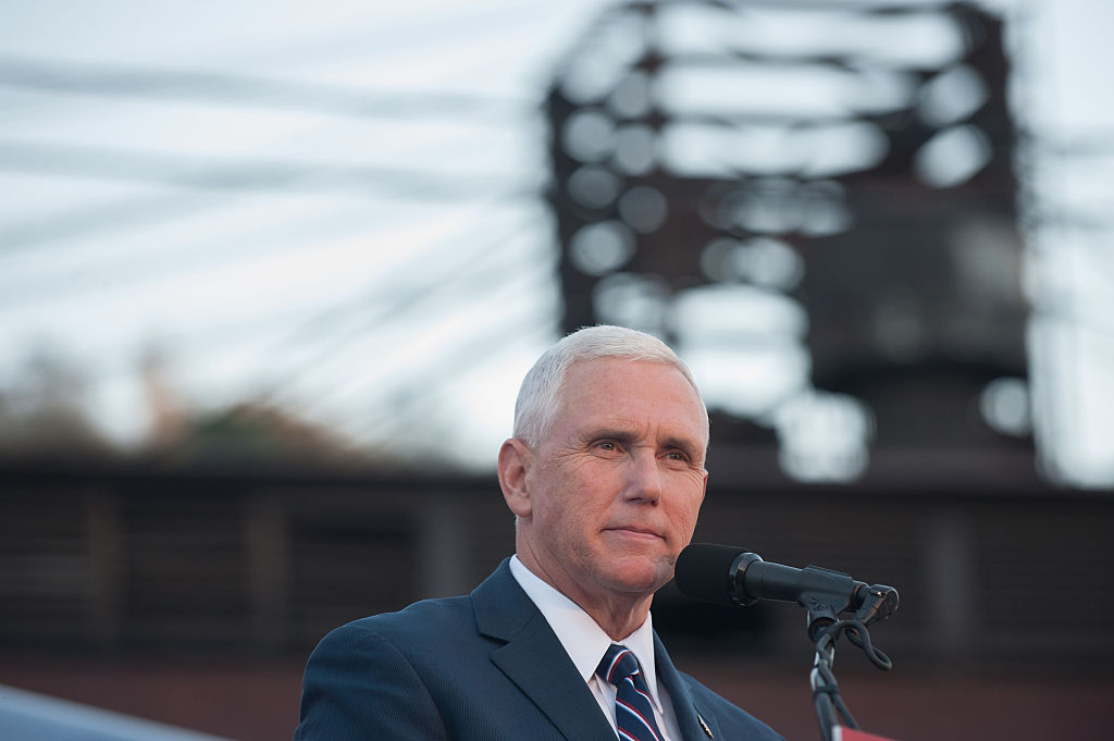 Mike Pence speaks at a rally.