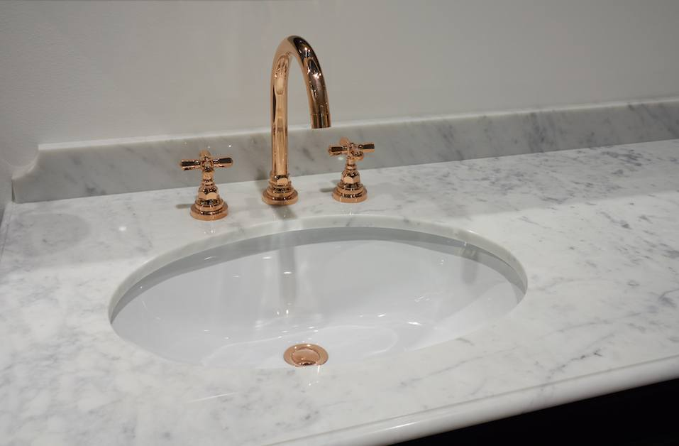 Copper faucet bathroom sink
