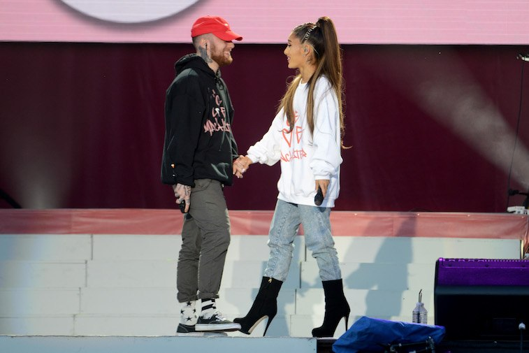 Mac Miller and Ariana Grande perform on stage