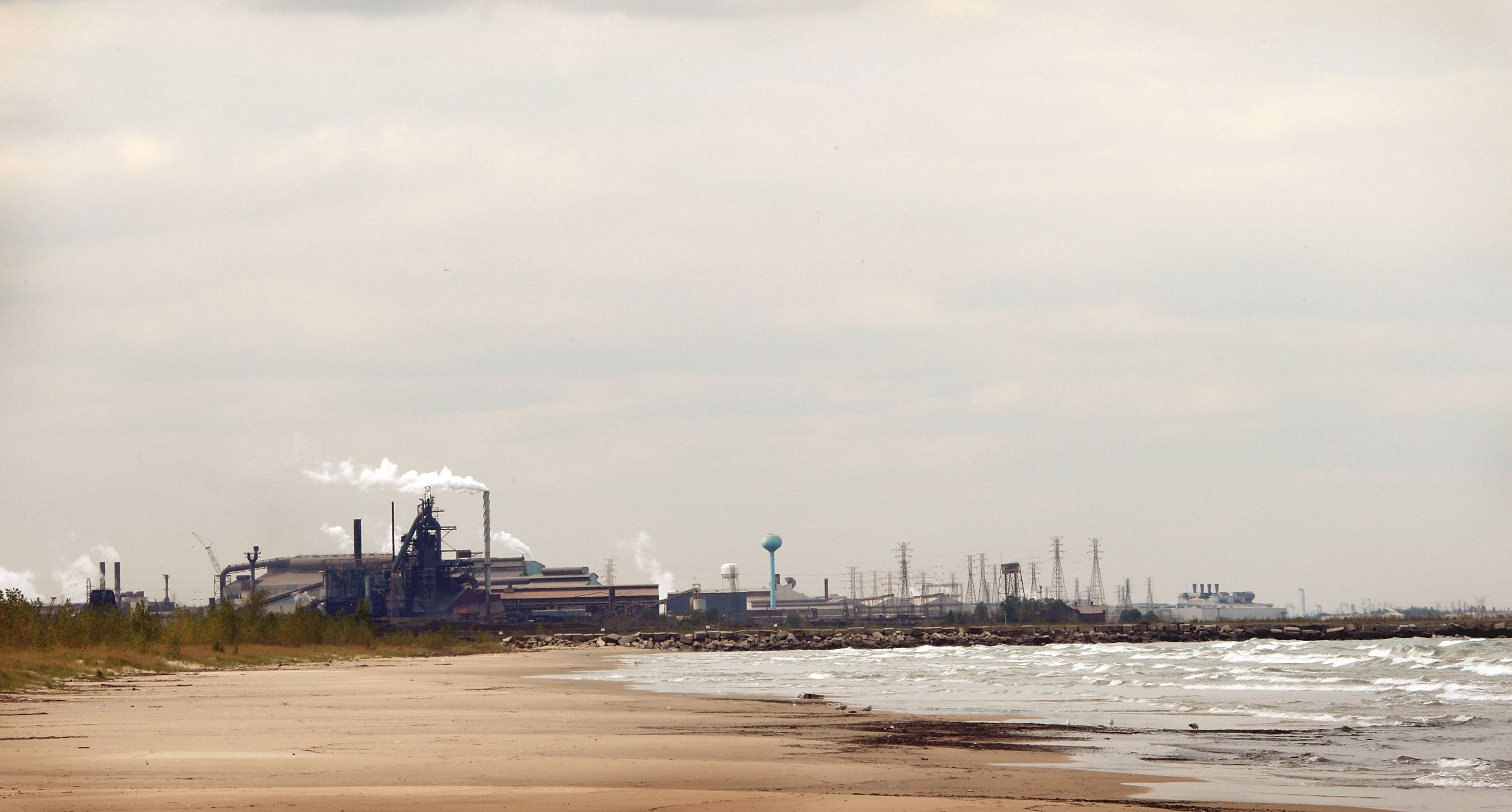 The United States Steel Gary Works plant juts out of the landscape in Gary, Indiana