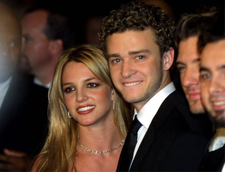 Singer Britney Spears and boyfriend Justin Timberlake from the band N'sync, arrive at Clive Davis'' pre-grammy awards gala