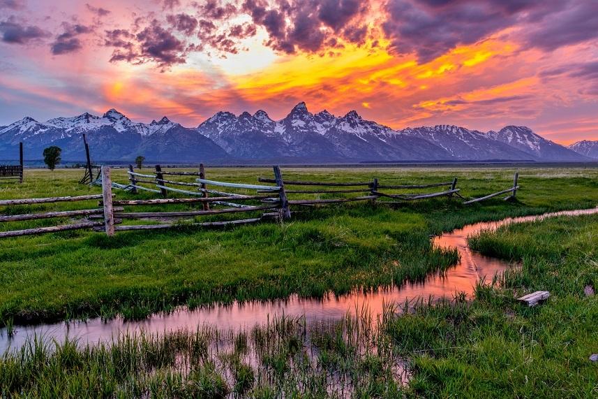 sunset at Teton Range