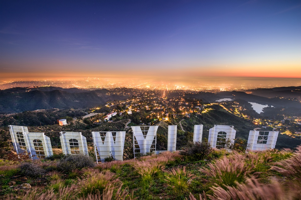 Hollywood sign over Los Angeles