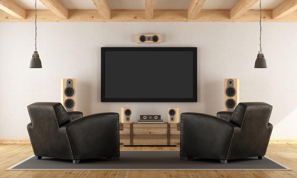 Home cinema system with vintage furniture