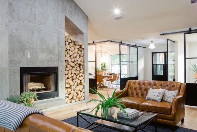 Indoor firewood storage in a home on HGTV's 'Fixer Upper'