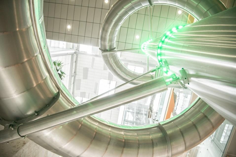 Indoor steel slide at Changi Airport