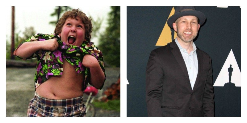 On the left is Chunk in The Goonies holding up his shirt and shaking. On the right is Jeff Cohen in a suit on the red carpet.
