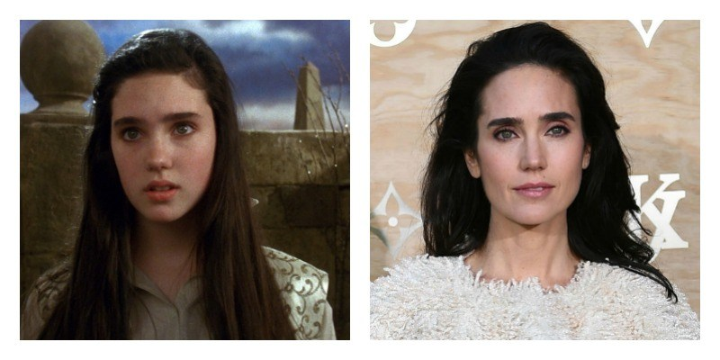 On the left is Jennifer Connelly in Labyrinth. On the right is an older Jennifer Connelly on the red carpet.