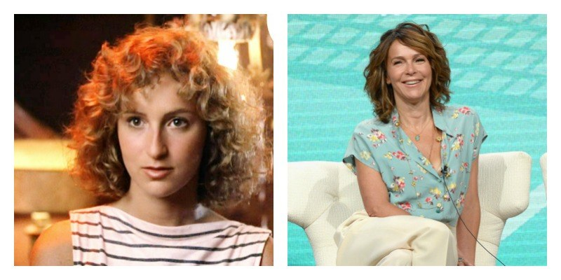 On the left is Jennifer Grey with curly hair and a stripped shirt in Dirty Dancing. On the right she has straighter hair and is sitting down in a dress.