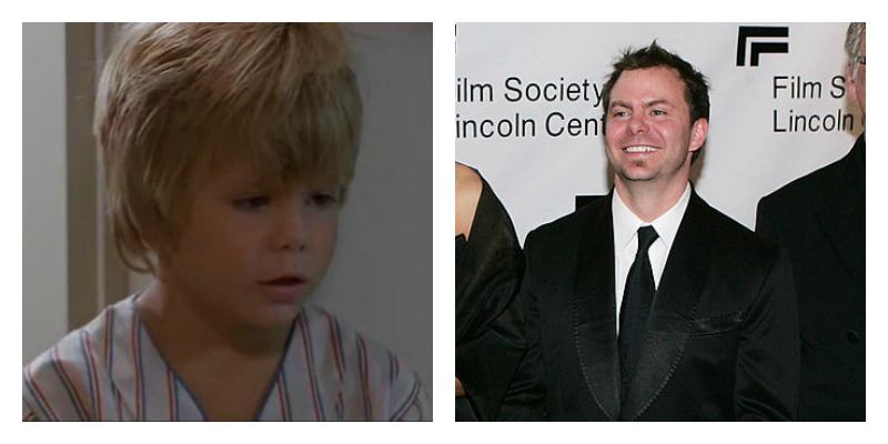 On the left is young and blond Justin Henry in Kramer vs. Kramer. On the right is older Justin Henry in a suit on the red carpet.