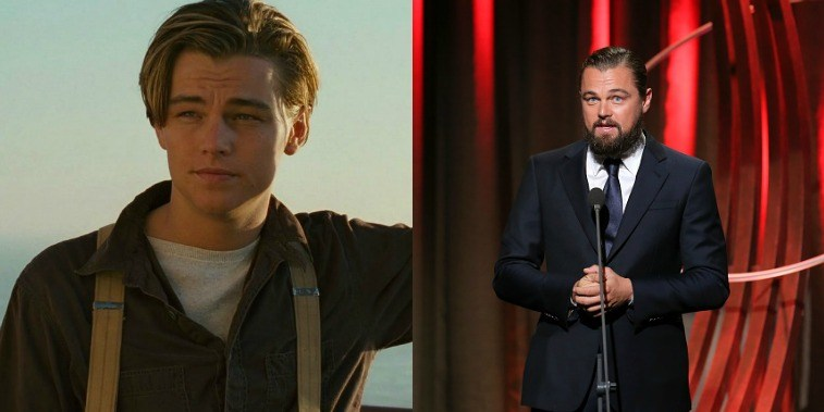 Leonardo DiCaprio as Jack Dawson in Titanic, Leonardo DiCaprio accepting an award