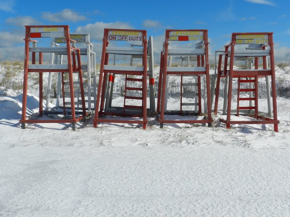 Lifeguard chairs on the beach