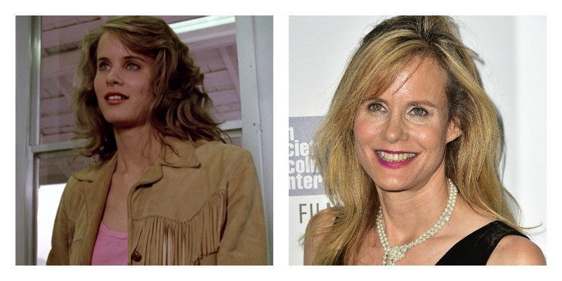 On the left is a picture of younger Lori Singer in Footloose. On the right is older Lori Singer on the red carpet.