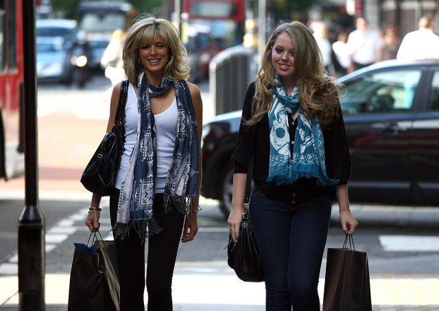 Tiffany Trump and Marla Maples walk through central London.