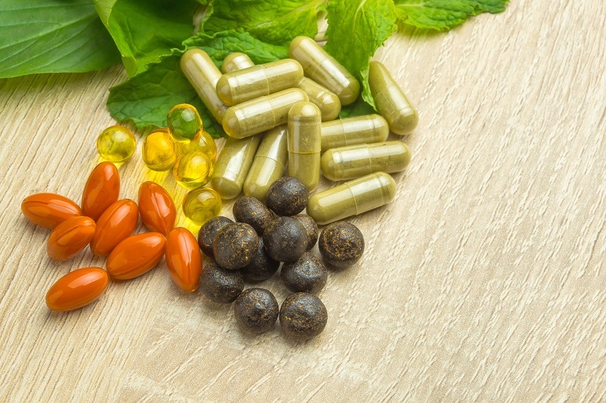 Herbal pills with healthy medical plant