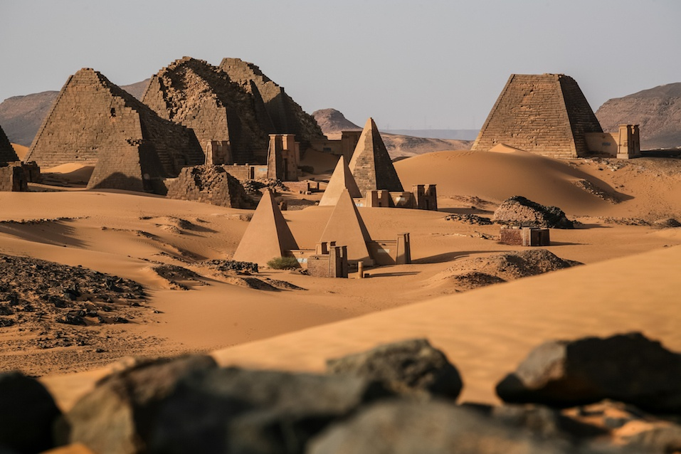 Meroe pyramids in the sahara desert Sudan