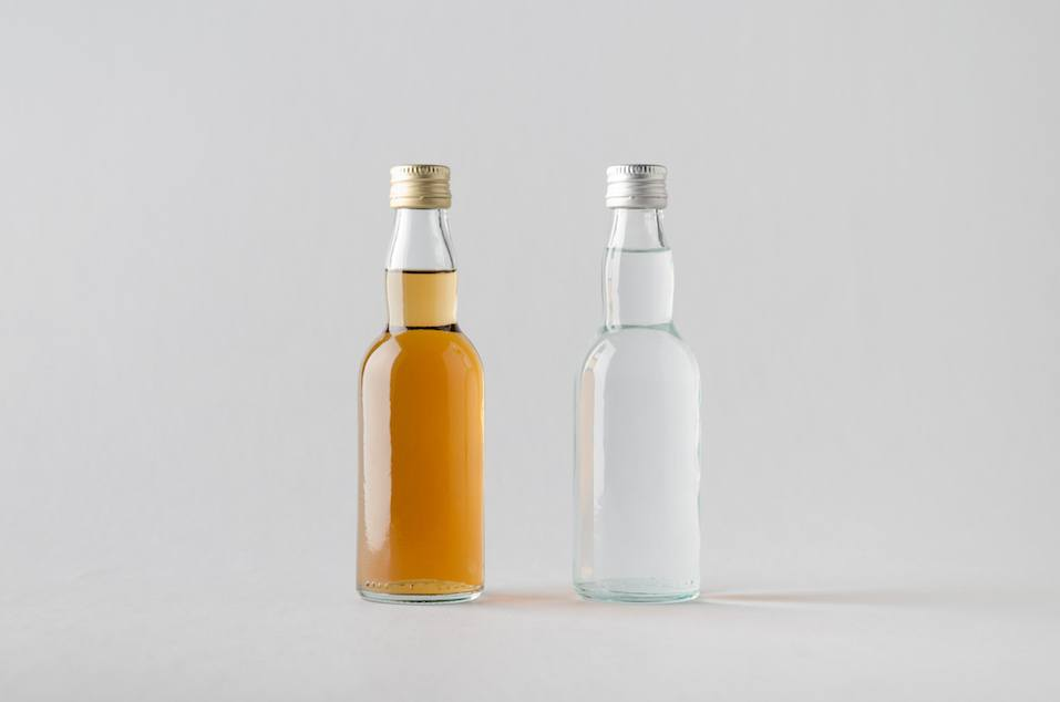 Miniature Spirits/Liquour Bottle Mock-Up - Two Bottles