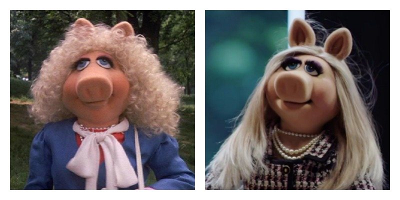 On the left is Miss Piggy with big, curly hair. On the right is Miss Piggy with long and straight hair.