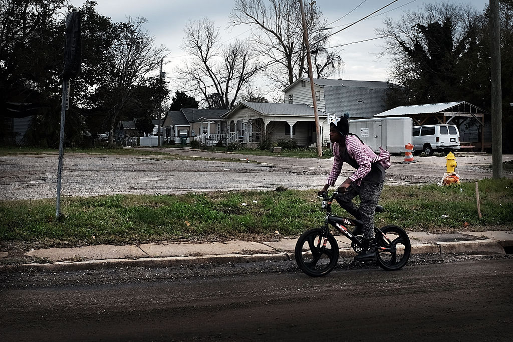Dirt streets still make up parts of East Biloxi on January 2, 2016 in Biloxi, Mississippi
