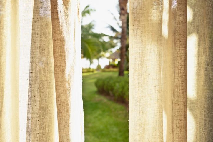 Open linen curtains